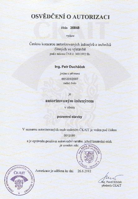 Autorizace Ing. Duchacek